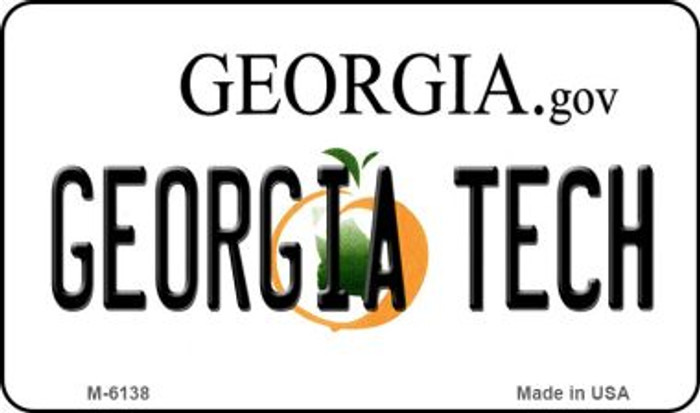 Georgia Tech State License Plate Novelty Magnet M-6138