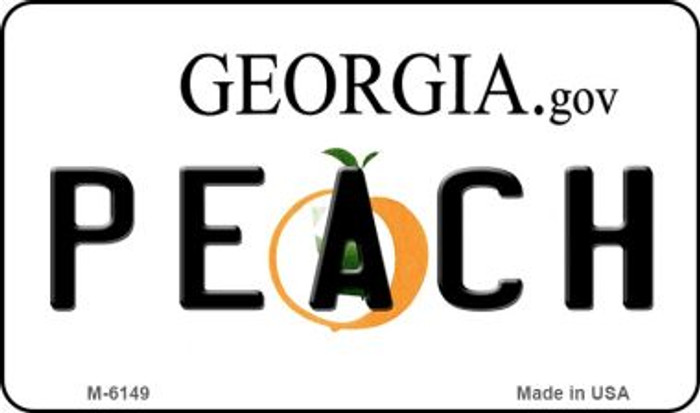 Peach Georgia State License Plate Novelty Magnet M-6149