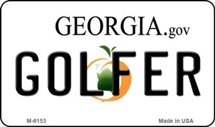 Golfer Georgia State License Plate Novelty Magnet M-6153