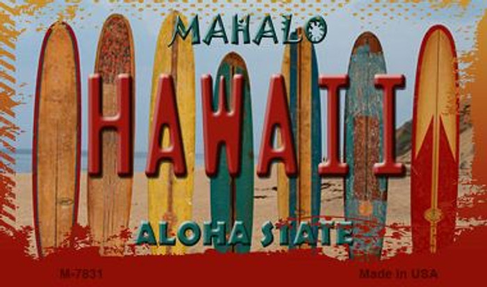 Hawaii Surboards Novelty Metal Magnet M-7831