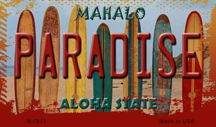 Paradise Surfboards Novelty Metal Magnet M-7833
