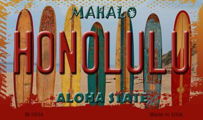 Honolulu Surfboards Novelty Metal Magnet M-7834