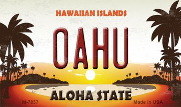 Oahu Hawaiian Islands Novelty Metal Magnet M-7837