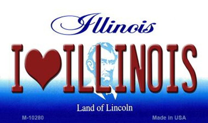 I Love Illinois State License Plate Magnet M-10280