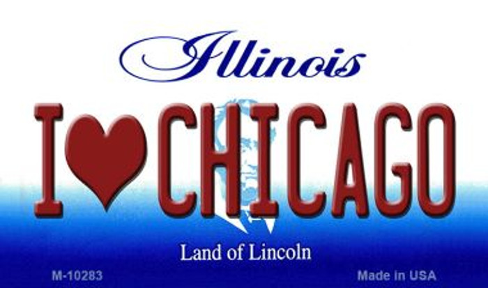 I Love Chicago Illinois State License Plate Magnet M-10283