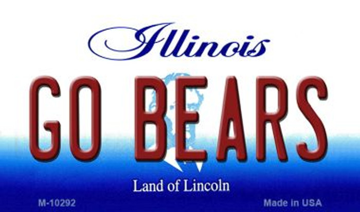 Go Bears Illinois State License Plate Magnet M-10292