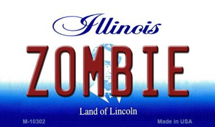 Zombie Illinois State License Plate Magnet M-10302