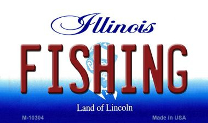 Fishing Illinois State License Plate Magnet M-10304