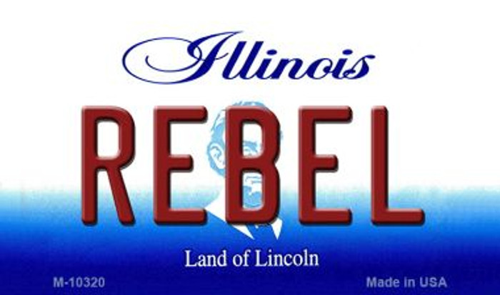 Rebel Illinois State License Plate Magnet M-10320