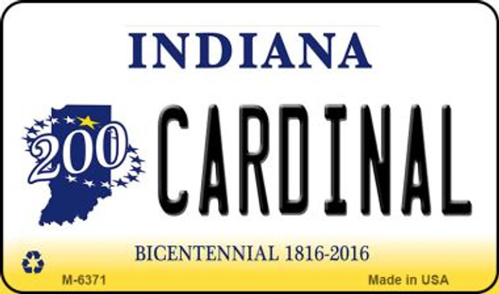 Cardinal Indiana State License Plate Novelty Magnet M-6371