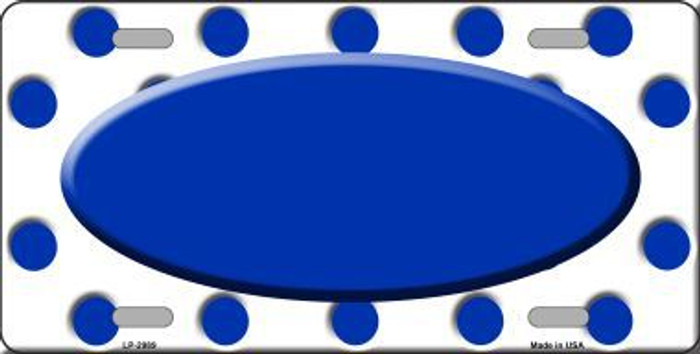Blue White Polka Dot Print With Blue Center Oval Metal Novelty License Plate LP-2989