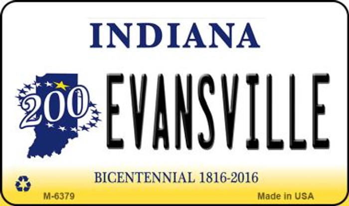 Evansville Indiana State License Plate Novelty Magnet M-6379