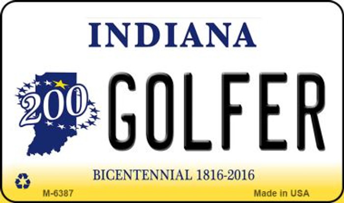 Golfer Indiana State License Plate Novelty Magnet M-6387