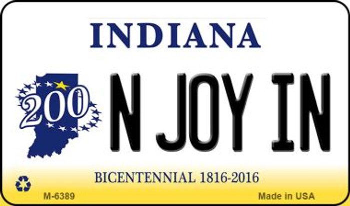 N Joy IN Indiana State License Plate Novelty Magnet M-6389
