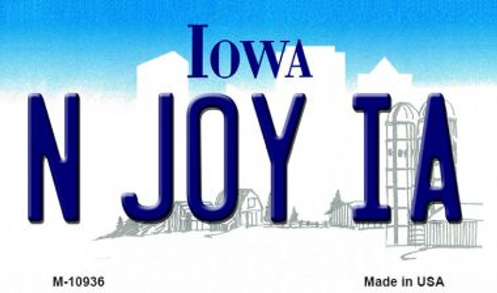 N Joy IA Iowa State License Plate Novelty Magnet M-10936