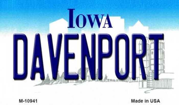 Davenport Iowa State License Plate Novelty Magnet M-10941