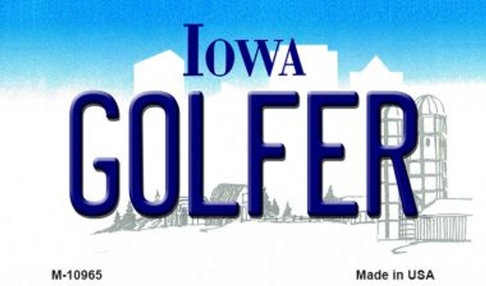 Golfer Iowa State License Plate Novelty Magnet M-10965