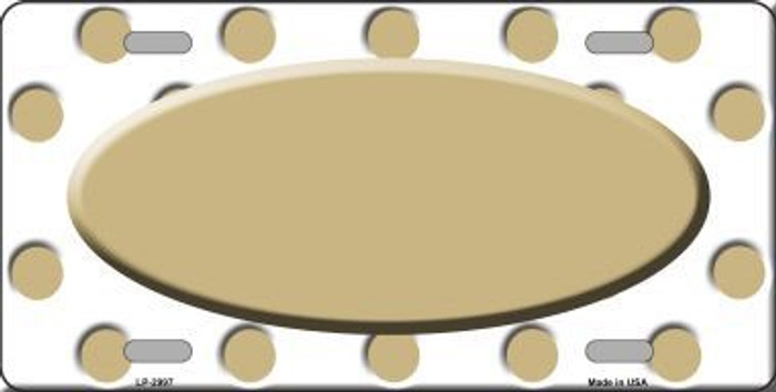 Gold White Polka Dot Print With Gold Center Oval Metal Novelty License Plate LP-2997
