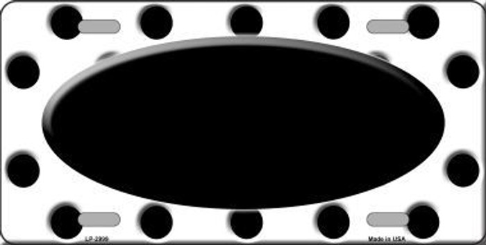 Black White Polka Dot Print With Black Center Oval Metal Novelty License Plate LP-2999