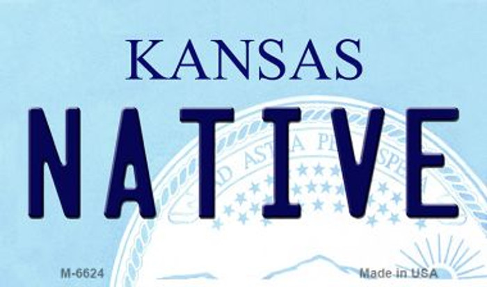 Native Kansas State License Plate Novelty Magnet M-6624