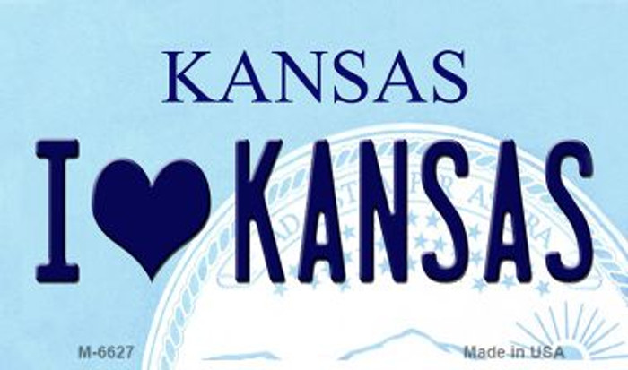 I Love Kansas State License Plate Novelty Magnet M-6627