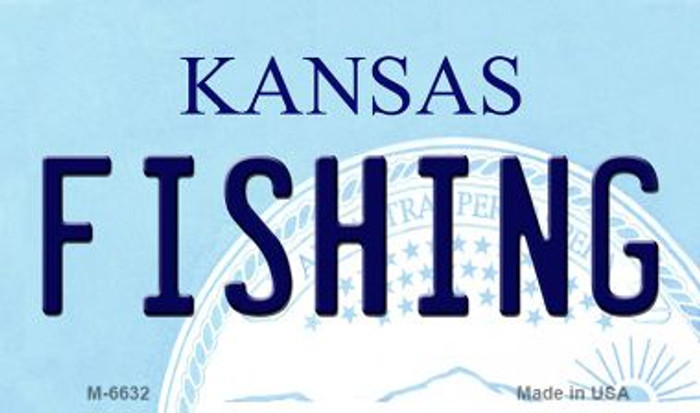 Fishing Kansas State License Plate Novelty Magnet M-6632
