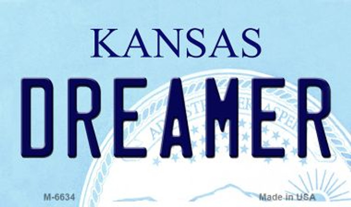 Dreamer Kansas State License Plate Novelty Magnet M-6634