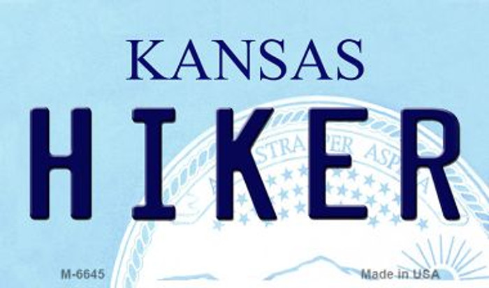 Hiker Kansas State License Plate Novelty Magnet M-6645