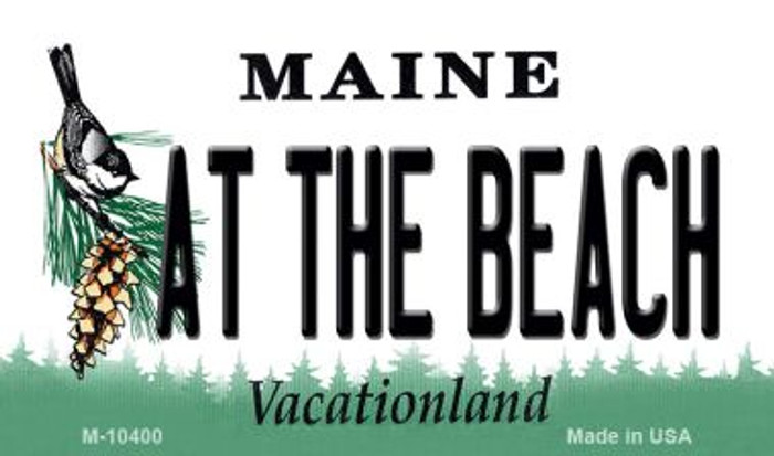 At The Beach Maine State License Plate Magnet M-10400