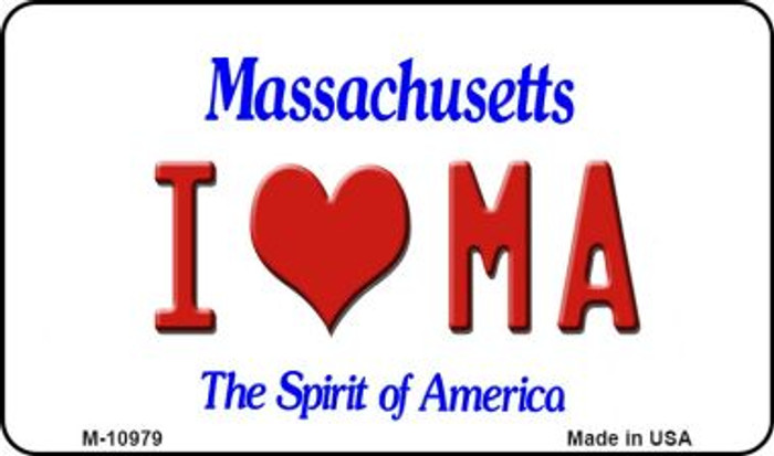 I Love MA Massachusetts State License Plate Magnet M-10979