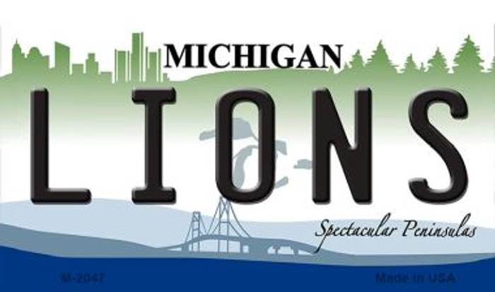 Lions Michigan State License Plate Magnet M-2047