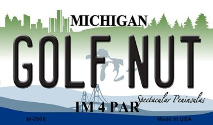 Golf Nut Michigan State License Plate Novelty Magnet M-2806