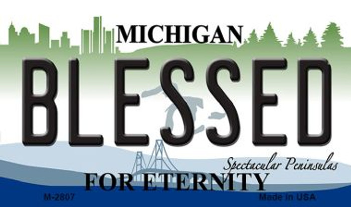 Blessed Michigan State License Plate Novelty Magnet M-2807