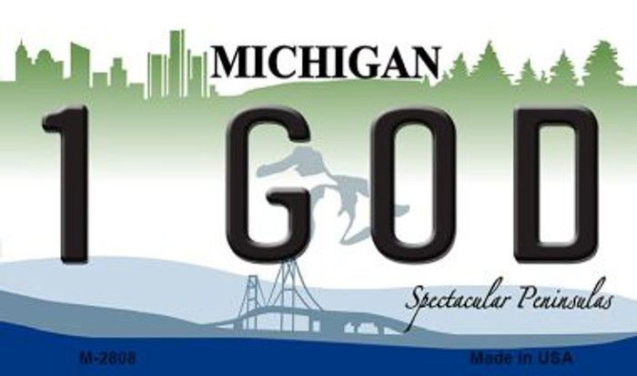 1 God Michigan State License Plate Novelty Magnet M-2808