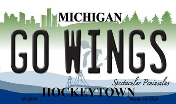 Go Wings Michigan State License Plate Novelty Magnet M-2809