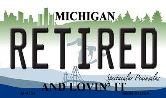 Retired Michigan State License Plate Novelty Magnet M-4754