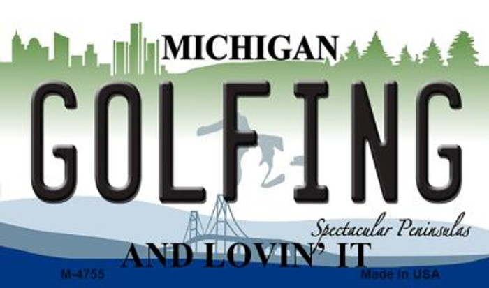 Golfing Michigan State License Plate Novelty Magnet M-4755