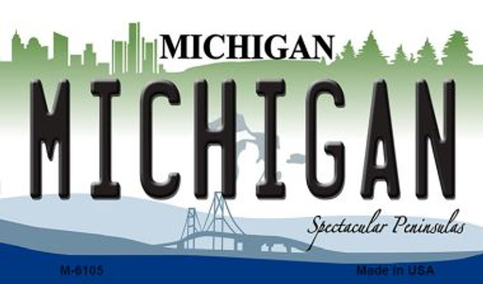Michigan State License Plate Novelty Magnet M-6105