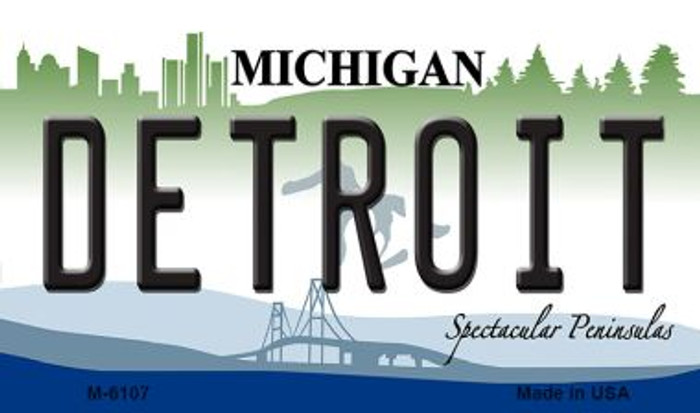 Detroit Michigan State License Plate Novelty Magnet M-6107