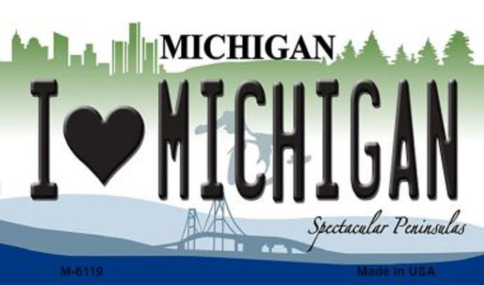 I Love Michigan State License Plate Novelty Magnet M-6119