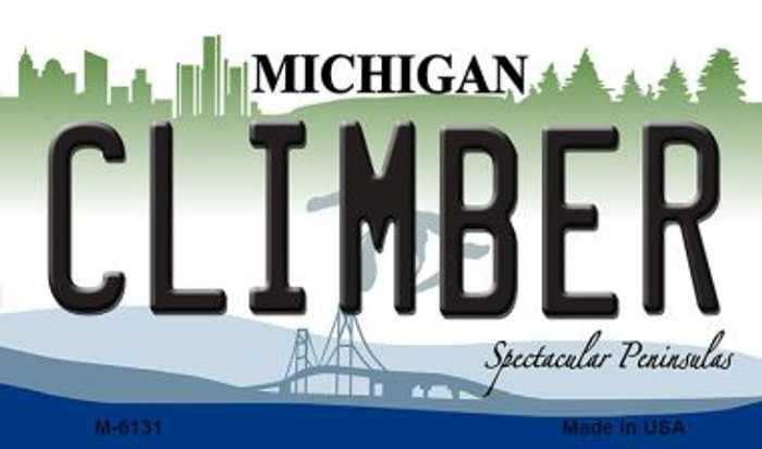 Climber Michigan State License Plate Novelty Magnet M-6131