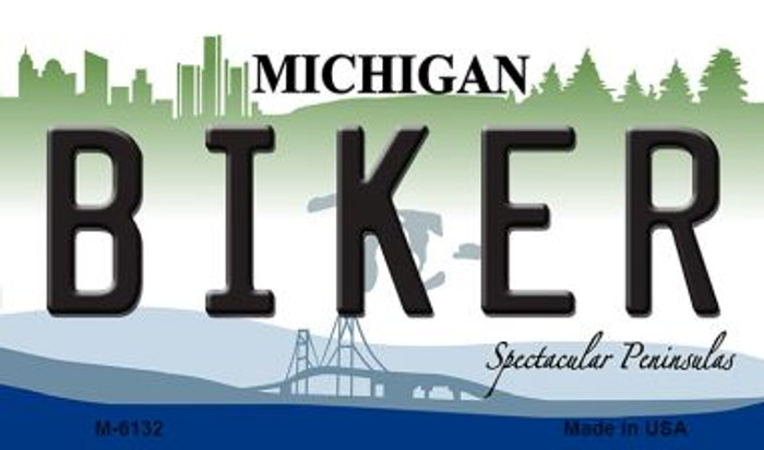 Biker Michigan State License Plate Novelty Magnet M-6132