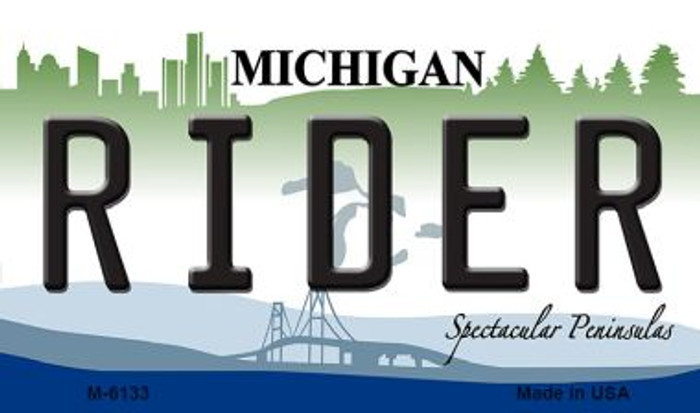Rider Michigan State License Plate Novelty Magnet M-6133