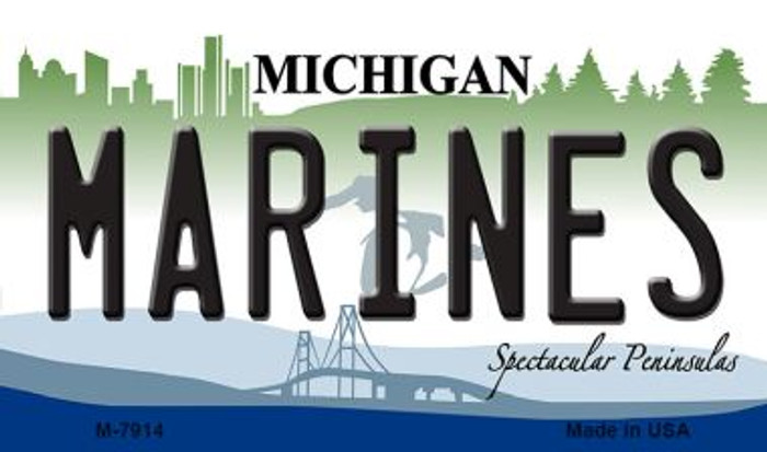 Marines Michigan State License Plate Novelty Magnet M-7914