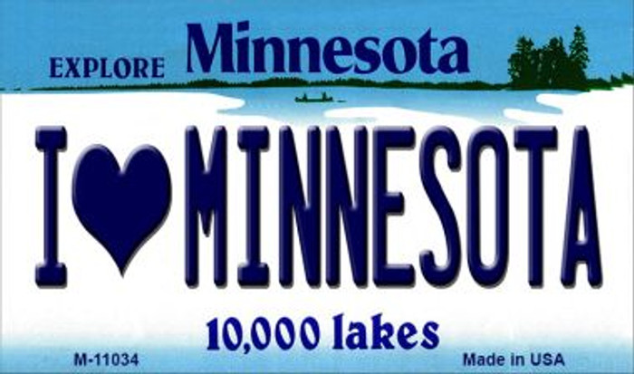 I Love Minnesota State License Plate Novelty Magnet M-11034