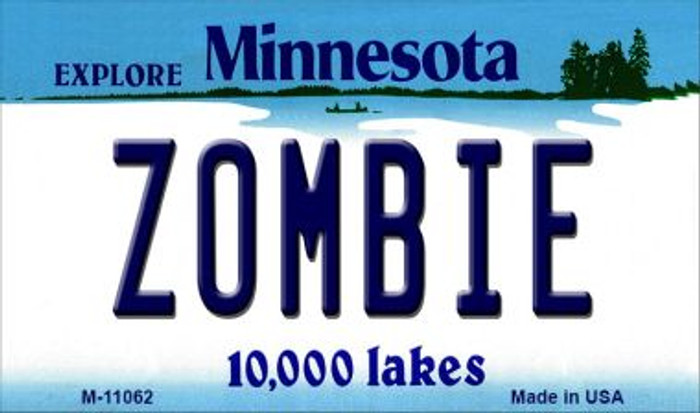 Zombie Minnesota State License Plate Novelty Magnet M-11062