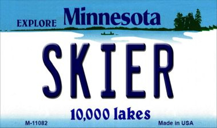 Skier Minnesota State License Plate Novelty Magnet M-11082