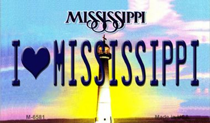 I Love Mississippi State License Plate Magnet M-6581