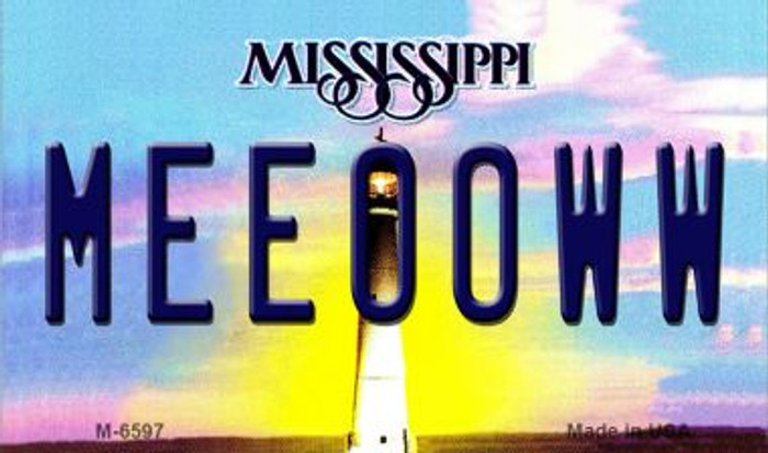 Meeooww Mississippi State License Plate Magnet M-6597