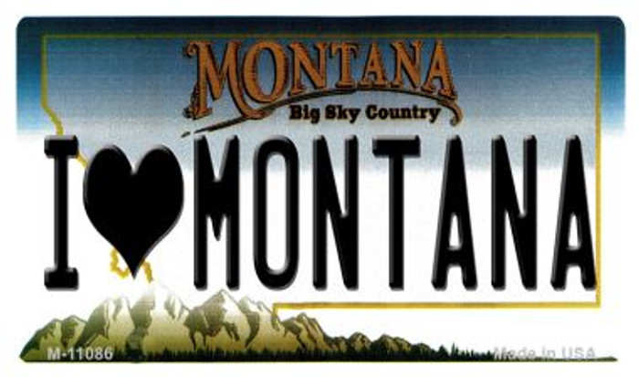 I Love Montana State License Plate Novelty Magnet M-11086